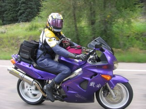 On her Purple VFR - and her dog, Diddle