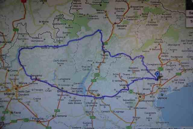 Treviso - Lake Como test route