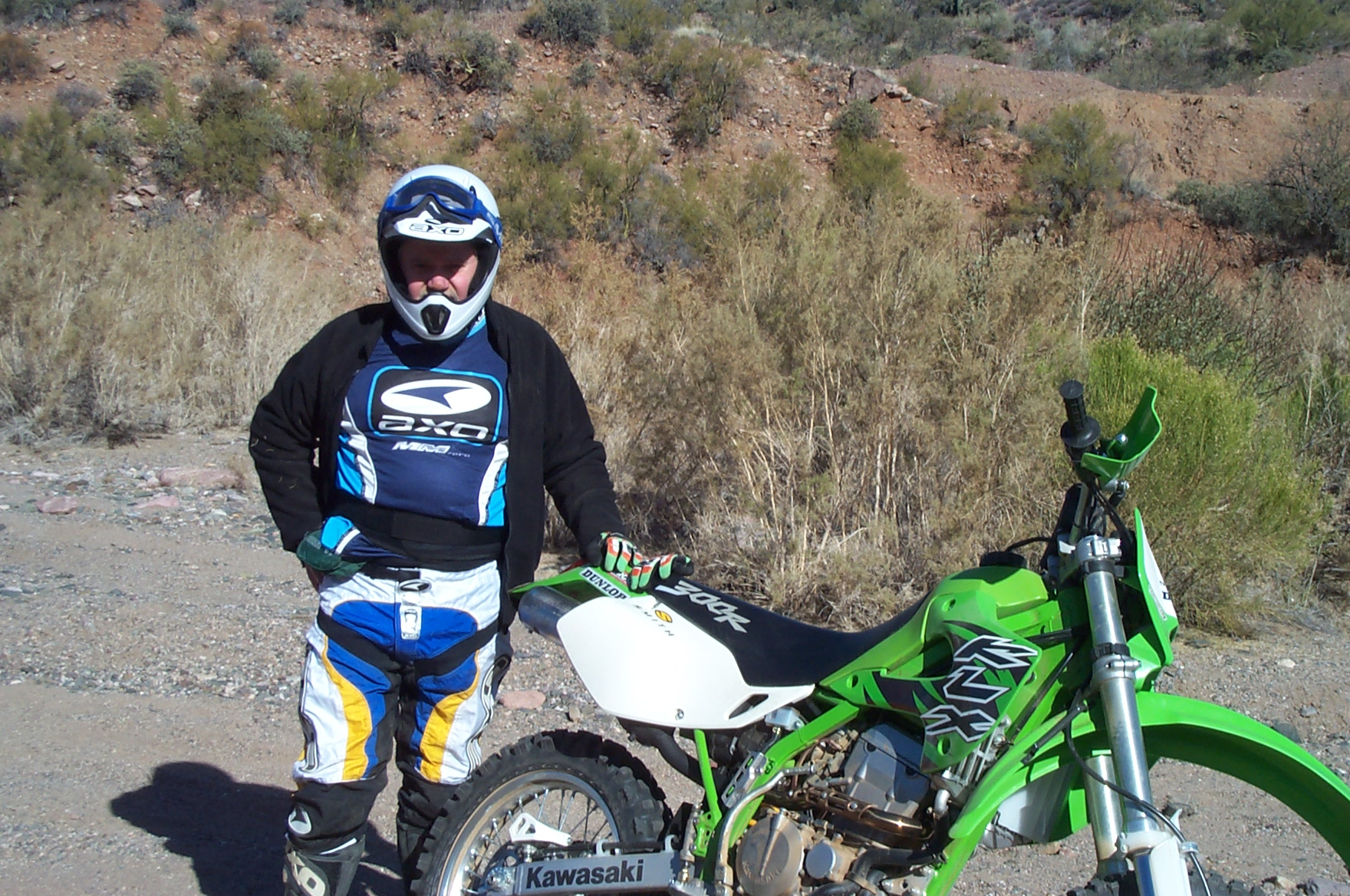 Man on a KLX motorcycle
