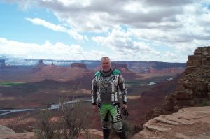 man in motorcycle gear in Moab UT