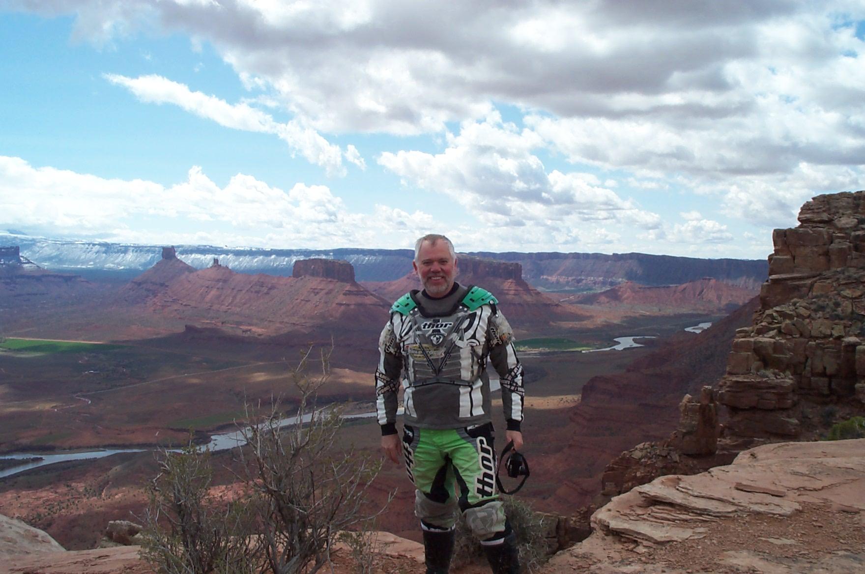 man in motorcycle gear in Moab UT