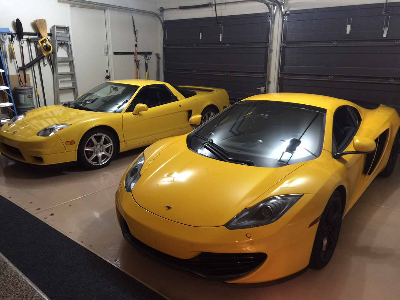 2 cars in garage.