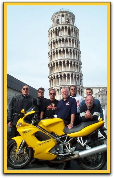 Leaning tower with the team in front