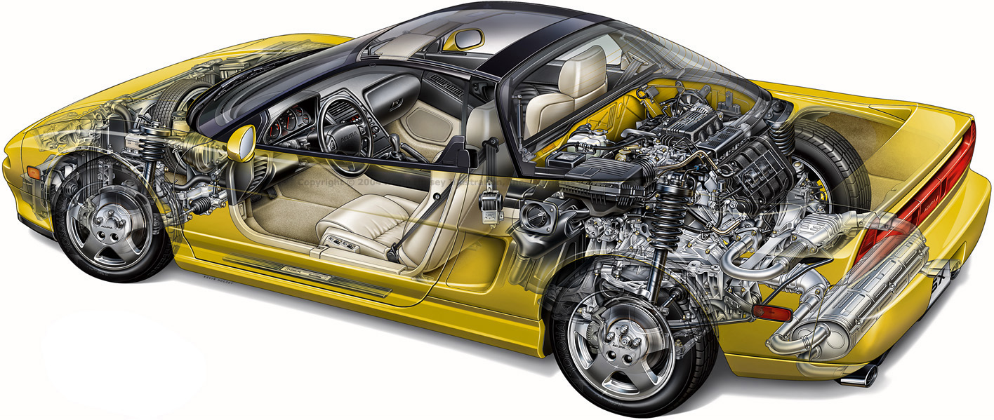 a cutaway drawing of a yellow NSX -