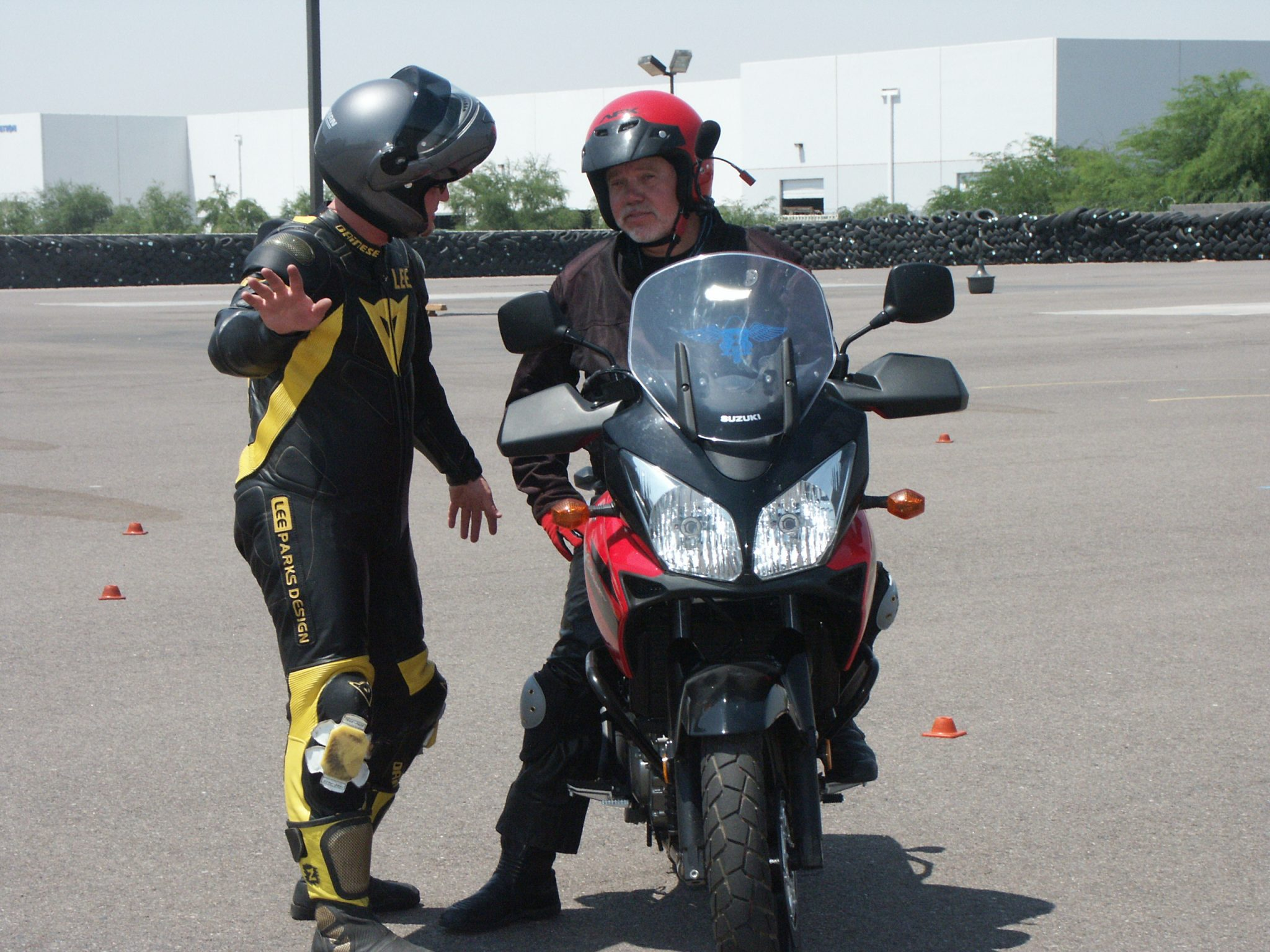 two men and one motorcycle