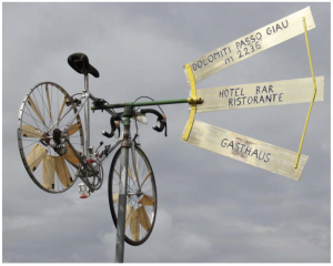 sign with a bicycle frame on one side