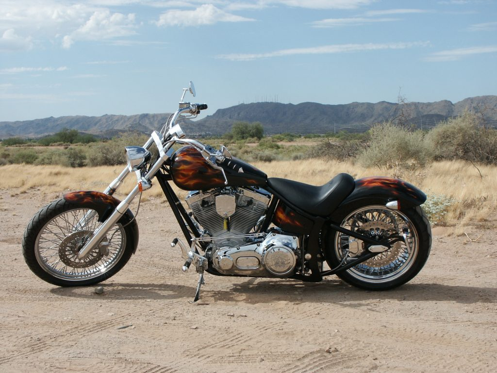 Saxon motorcycle against the Arizona hills