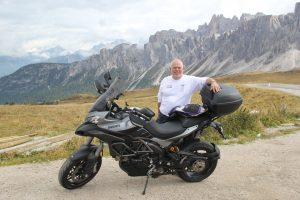 standing behind my motorcycle